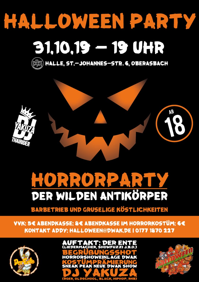 halloween party die wilden antikoerper oberasbach fuerth nuernberg